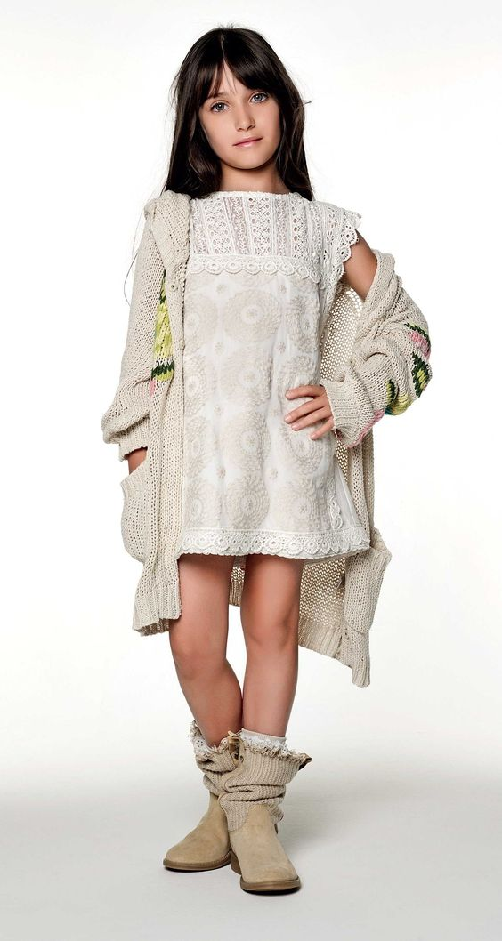 TWIN-SET Girl collection: Knitted cardigan with floral embroidery, embroidered dress and boots with fabric leg