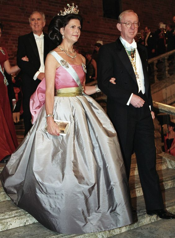 Queen Silvia at the Nobel prize ceremony in 1995 Dress made by Nina Ricci