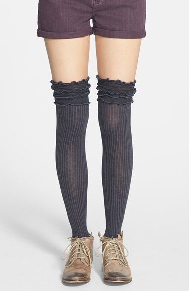 Free People 'Fidler' Ruffled Over the Knee Socks available at #Nordstrom
