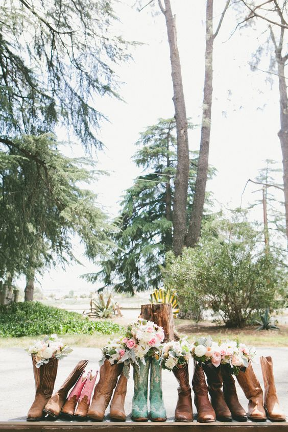 This is a fun example of showcasing the bridal and bridesmaid bouquets with a twist - in boots!: Diy Wedding Flowers, 23 Highland, Onelove Photography, Secret Wedding Ideas, 2013 08, Bridesmaid Bouquets, Fun Example, California Wedding
