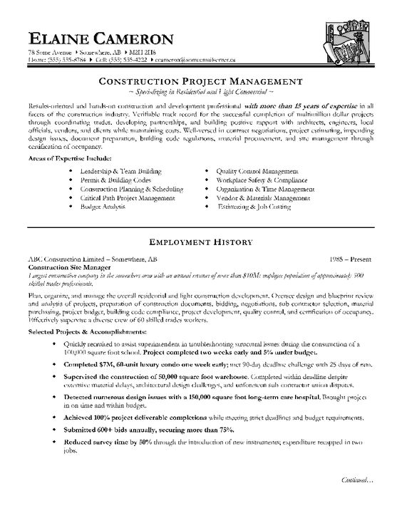 construction manager resume page 1 resume writing tips