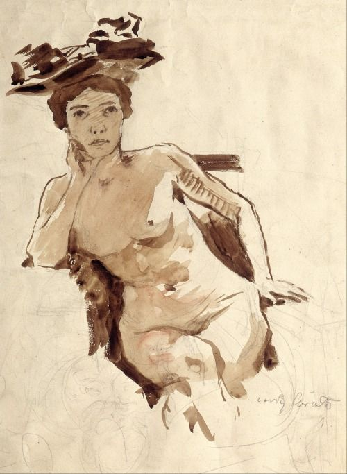 Female Semi Nude with Hat �- �Lovis Corinth  Russian painter 1858-1925