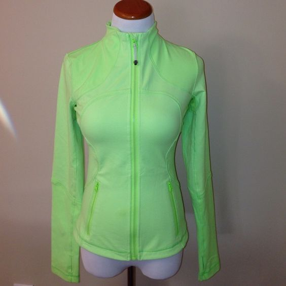 Lululemon brand zip up green work out jacket Lululemon brand zip up green work out jacket. The jacket is more bright green than pictured. Item is essentially brand new and shows no signs of wear. Size2. Questions? Just ask! lululemon athletica Jackets & Coats