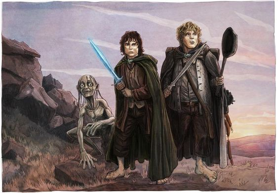 Frodo, Sam, Gollum by BrentWoodside on DeviantArt Sam, Frodo and Gollum journeying together.
