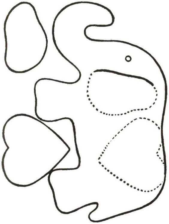 elephant applique pattern   Moldes de elefante para imprimir