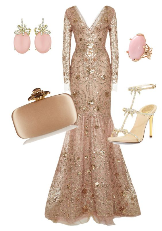 """Untitled #474"" by elizmweiss ❤ liked on Polyvore featuring Marchesa, René Caovilla, Oscar de la Renta and Lucifer Vir Honestus"
