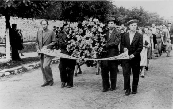 The Kielce Pogrom: A Blood Libel Massacre of Holocaust Survivors. Funeral procession for victims of the Kielce pogrom. Kielce, Poland, July 1946.