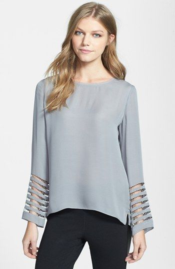 Elie Tahari 'Janelle' High/Low Silk Blouse available at #Nordstrom