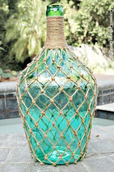 bricolaje anudada malla de yute para garrafas y botellas tutorial, manualidades, bricolaje, decoración del hogar, cómo