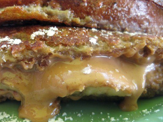 Peanut butter and banana stuffed french toast.  Elvis would love this!