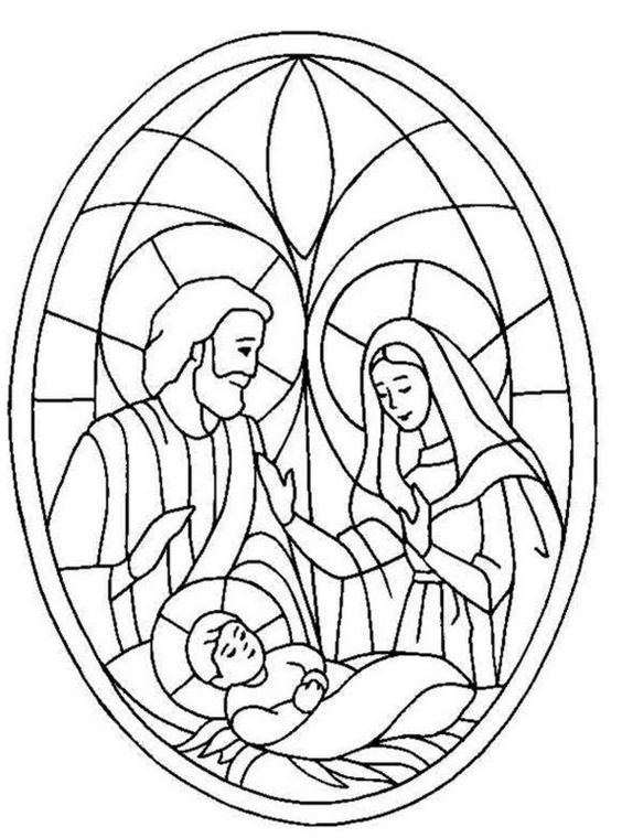 stained glass coloring pages religious | Christmas Coloring Pages ...