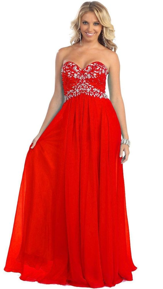 Long Strapless Chiffon Plus Size Prom Formal Party Dress