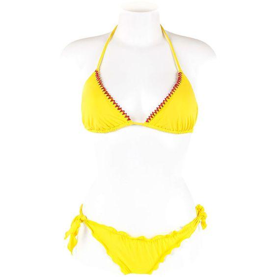 Faanj Triangle Bikini ($21) ❤ liked on Polyvore featuring swimwear, bikinis, yellow, bikini swim wear, bikini swimwear, triangle swim wear, triangle bikinis and yellow bikini swimwear