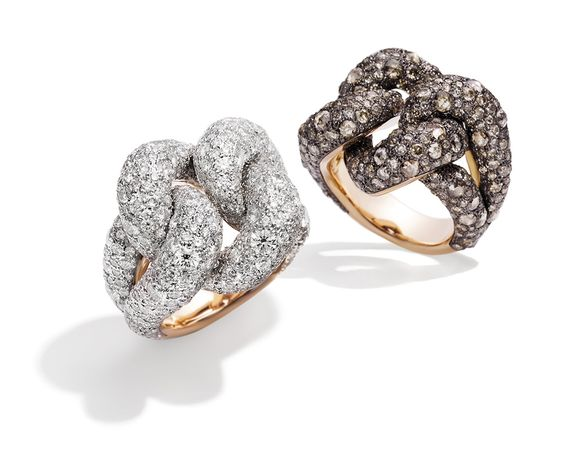 Pomellato Tango rings in rose gold and rhodium-plated silver with brilliant and rose-cut brown diamonds.