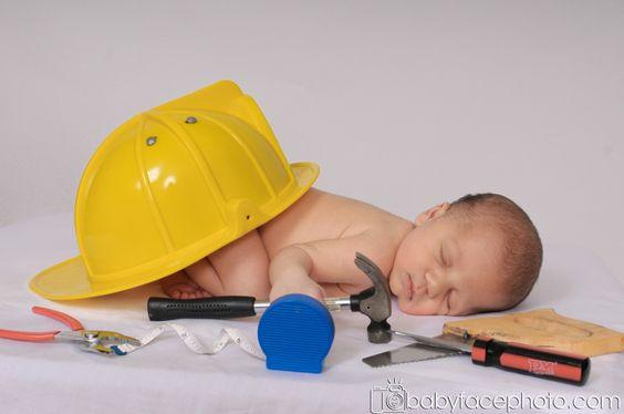 newborn photography construction worker