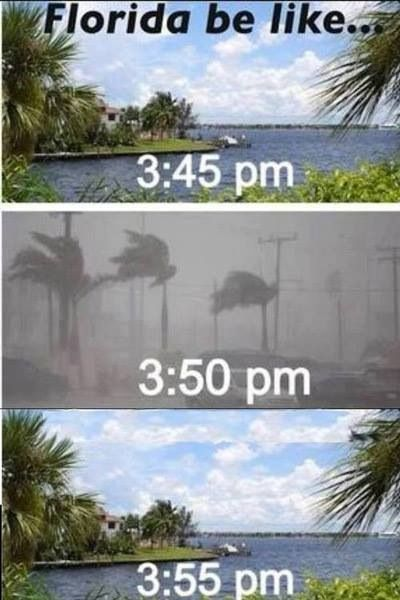 Florida be like... ha ha ha XD When i went there when i was younger i remember a lot of rain and thunder before a load of sun X3