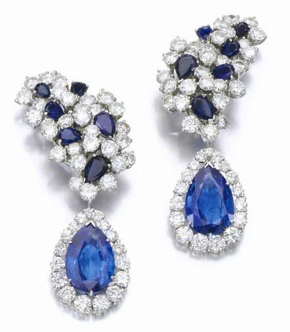 Boucles d'Oreilles Chantecler Saphirs, Diamants