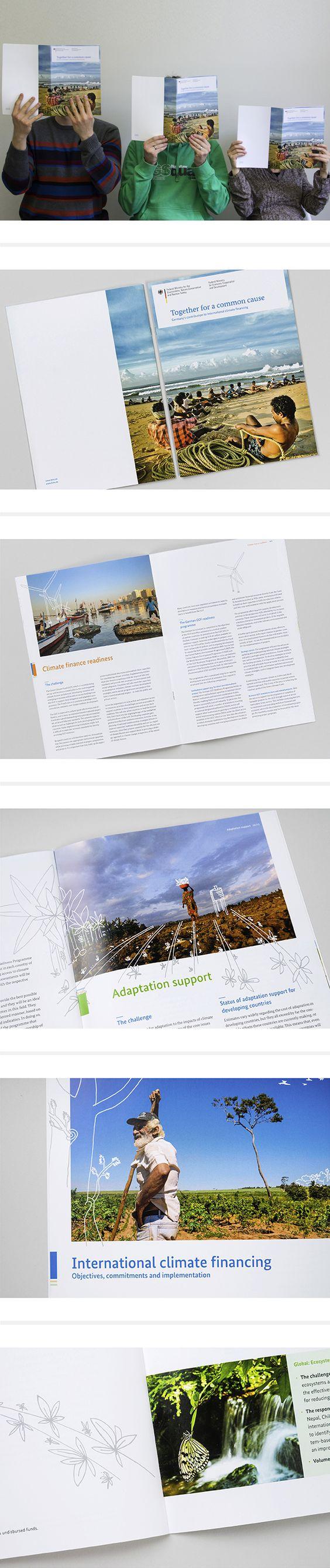 """Anlässlich der 19. Weltklimakonferenz der Vereinten Nationen in Warschau gestaltete die Designagentur Schumacher das Grafikdesign der """"Klimafinanzierungsbroschüre"""" der deutschen Bundesregierung. #broschüre #editorialdesign #layout #illustration"""