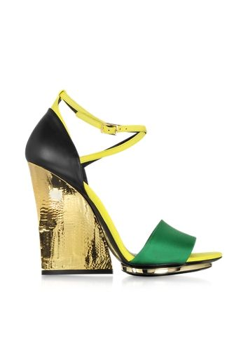 Roberto Cavalli Satin and Leather Wedge Sandal ~ Wish it was more of a wedge and not SO tall for me!