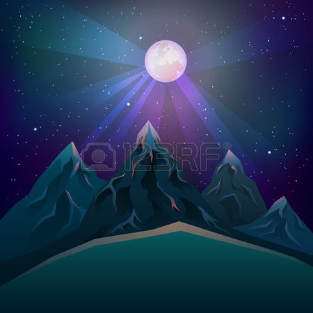 full mun on the moutntains Stock Vector