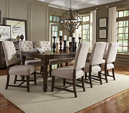 Praisely Court Farmhouse Styled Traditional 9 Piece Dining Set