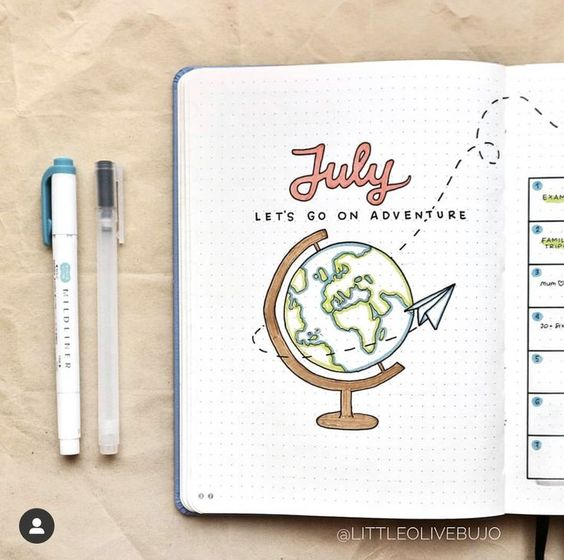 30 idées sympathiques pour décorer votre page du mois de Juillet dans votre Bullet Journal.