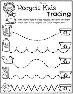 Preschool Tracing Worksheets - Earth Day Theme #planningplaytime #preschool #preschoolworksheets #earthday #earthdayactivities