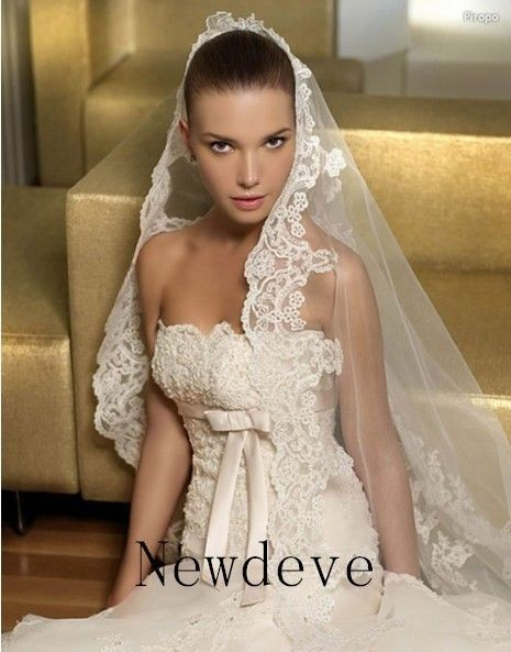 Gorgeous 1T Ivory Cathedral Long Bride Wedding Veil With Lace Purfle Free Comb