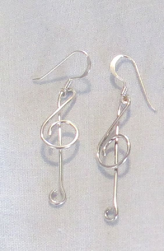 G Clef Designer Earrings. Handmade in Sterling Silver by TanamiTim