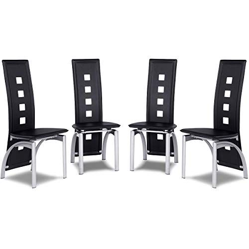 Modern Style Dining Room Chair Set 4 Piece Leather High Back