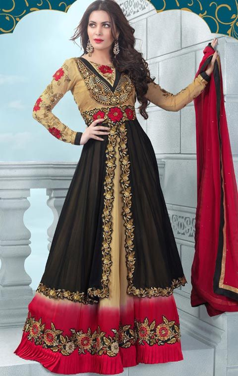 Simple #Black and #Beige Indian #Designer Suit Online  @ http://www.maalpani.com/p/1711/simple-black-and-beige-indian-designer-suit-online