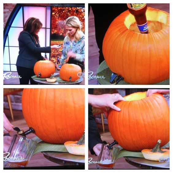 This morning On Rachel Ray show!!! Drill a hole at bottom of pumkin, screw in a spout(buy online or at a kitchen supply store for fairly cheap), add in pumkin flavored beer and serve! Fun and festive!