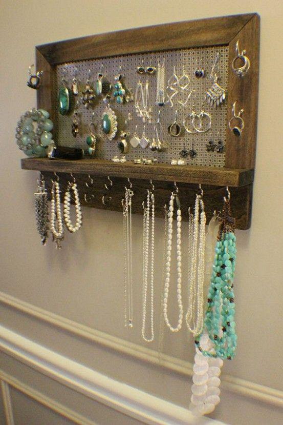 Diy Wall Jewelry Box Organizer Mount Decor