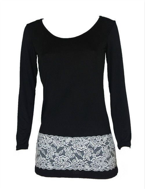 Long Sleeve Dress Black Lace Spliced White Dress Ladies Bodycon Party Tunic Mini Dress