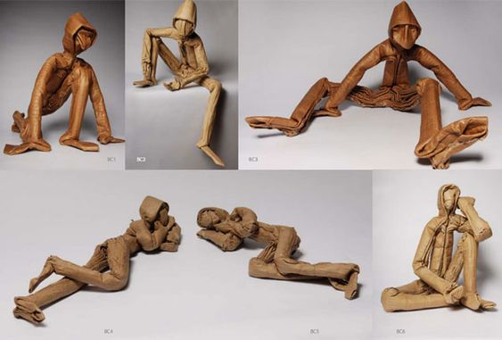 An artist who uses recycled cardboard and toilet paper