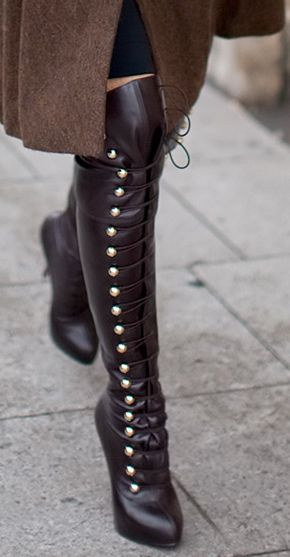Holy cow, I am loving these boots.  Laced up past the knee.: