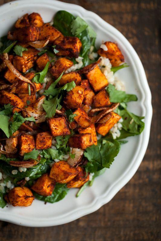 Roasted Sweet Potato, Spinach, and Grain Salad via Naturally Ella #Vegetarian #SweetPotato
