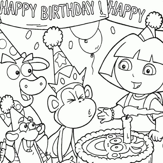 Spectacular Large Coloring Book 56 Coloring Dora Birthday Party