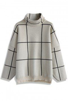 Grid Turtleneck Sweater in White - sale - Retro, Indie and Unique Fashion