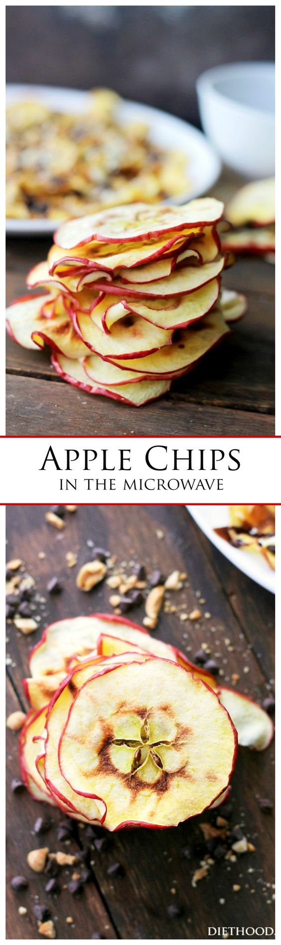 Apple Chips - Chips de manzana al microondas. #HealthyRecipes