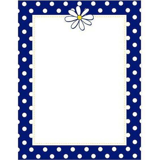 Navy Dots and Daisy Letterhead Sheets