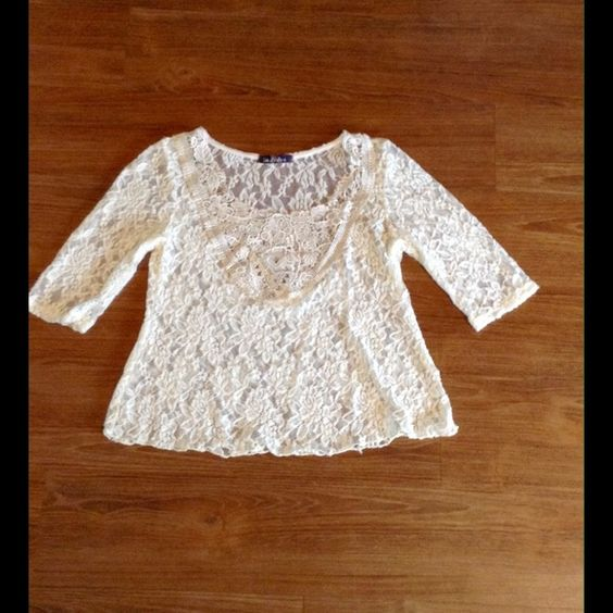 Lace top Cream lace top with mid length sleeves. Only worn once. Super girly and romantic.  Tops