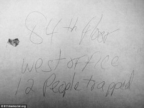 Discovery: Randy Scott scrawled a note, '84th floor, west office, 12 people trapped', before the south tower collapsed on 9/11. It also show...