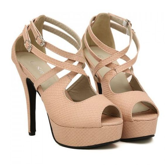 Sexy Cross-Straps and Openwork Design Women's Peep Toed Shoes, LIGHT PINK, 38 in Peep Toe   DressLily.com