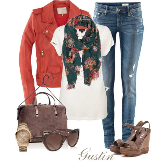 Jeans, tee, jacket and scarf. I'd do boots or flats instead of the wedge heels.: Outfit Idea, Dream Closet, Cute Outfits, Fall Outfits, Floral Scarf, Green Flower, Fall Winter