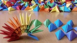 3D Origami Rainbow Vase, via YouTube.