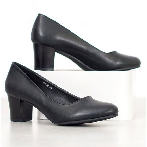 Sergio Leone Czarne Czolenka Black Pumps Pumps Women Shoes