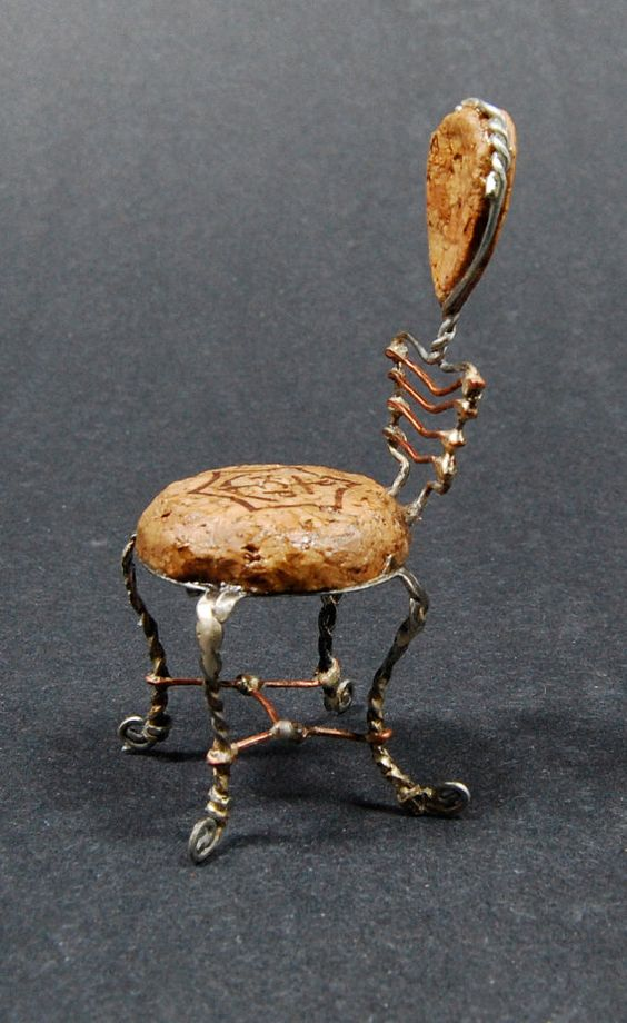 A little miniture chair made from a champagne cork and wire. Love!