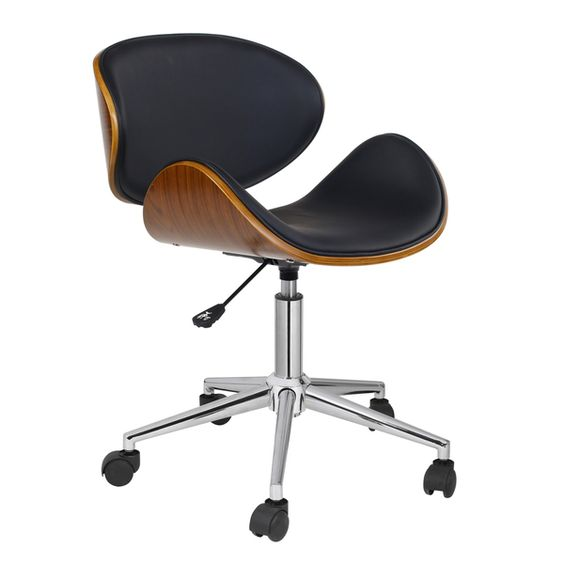 Add retro fun to your office space with this adjustable Rylan office chair. This chair features a contoured design, which supports your body as you sit, and a pneumatic gas lift to raise or lower the