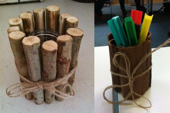A few sticks and some twine transform a baby jar into a creative, natural pencil holder. - Gowrie Victoria
